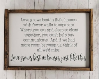 Love grows best in houses just like this, full quote, Farmhouse, framed sign, fixer upper style, handpainted, thankful home decor, scrabble
