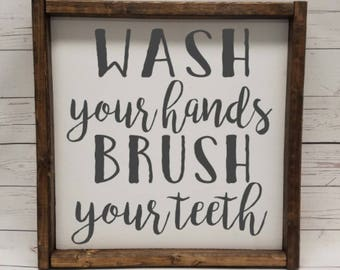 Wash your hands, brush your teeth, Farmhouse style, kid or master bathroom, framed sign, fixer upper, handpainted, thankful home decor,