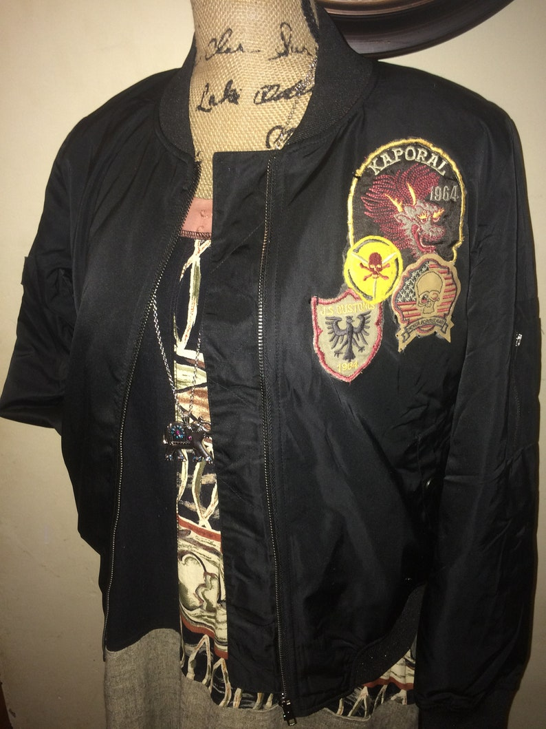 8d983cc47 Up- cycled, Hand Patched Black Satin Bomber Jacket, Misses Size Medium,  Quilted Lining