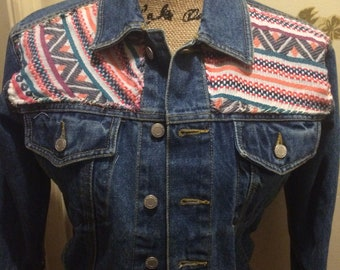 UP-CYCLED Denim Jacket, Southwest + Floral Skull for a Unique Mix, Juniors Size Small