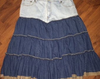 Upcycled Denim Skirt with Tiered, Ruffled Bottom, Levi's, Size 14