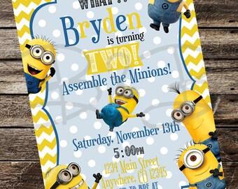 Minion Invitation. Minion Party Invitation. Minion Birthday
