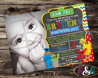 Sesame Street Invitation. Sesame Street Birthday Invitation. Sesame Street Photo Invitation. Sesame Street Party