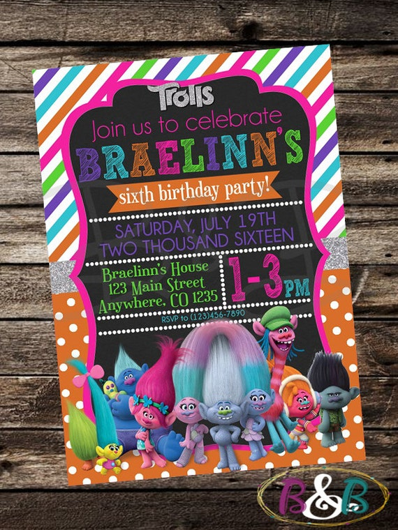 Trolls Birthday Invitation Dreamworks