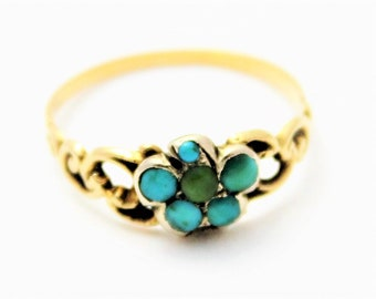 Rare Georgian Gold and Turquoise flower ring