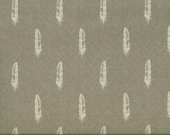 Robert Kaufman gray herringbone fabric and silver feathers