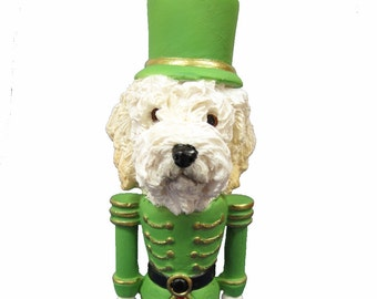 goldendoodle nutcracker christmas ornament hand painted and handcrafted perfect gift for goldendoodle lovers measures 5 tall - Goldendoodle Christmas Ornament