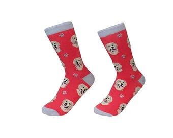 63a42d0f7fe Golden Retriever Socks - 200 Needle Count - Cotton Socks - Life Like Detail  of Golden Retriever - Size Women s (5-11) Men s( 6-10)