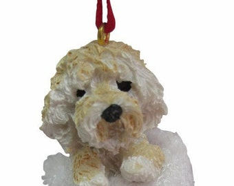 goldendoodle christmas ornament handpainted and handcrafted measures 4 tall x 2 wide