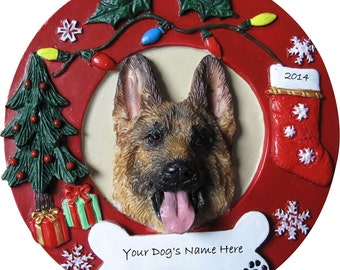 "German Shepherd Ornament Personalized with your Dog's Name, Hand Painted with a brush, Measures 3.75"" Diameter"