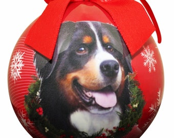 Bernese Mountain Dog  Christmas Ornament Shatter Proof Ball Easy To Personalize A Perfect Gift For All Pet Lovers