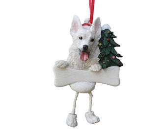 "German Shepherd white Ornament Personalized with your Dog's Name, Hand Painted with a brush, Measures 5 1/2"" tall by 3 1/2"" wide"