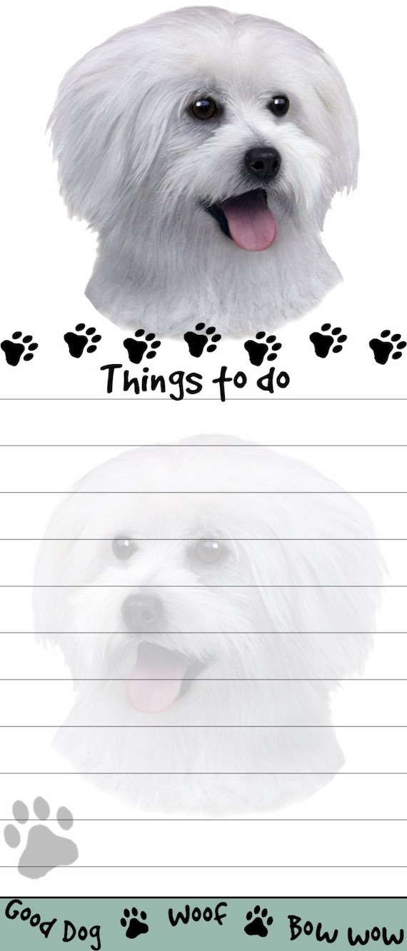 MALTESE Dog Funny Friends Magnetic NOTEPAD List Pad