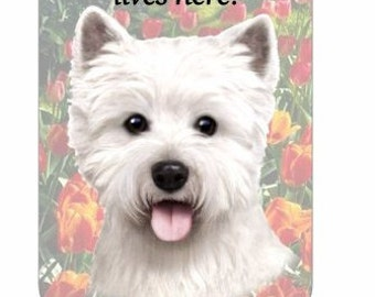 """Westie Wood Sign """"A Spoiled Rotten Dog Lives Here""""with Artistic Photograph Measuring 10 by 4 Inches"""