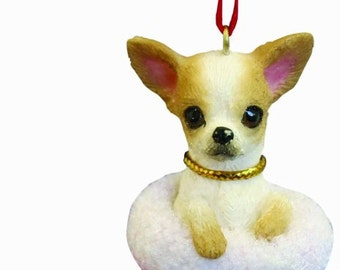 """Chihuahua Christmas ornament, handpainted and handcrafted. Measures 4"""" tall x 2"""" wide."""