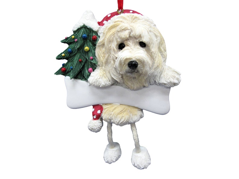 Hand Painted with a brush Goldendoodle Ornament Personalized with your Dog/'s Name Measures 5 12 tall by 3 12 wide