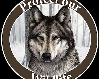 Animal Gifts, Protect our Wildlife Wolf Car Magnet, Wolf Gifts