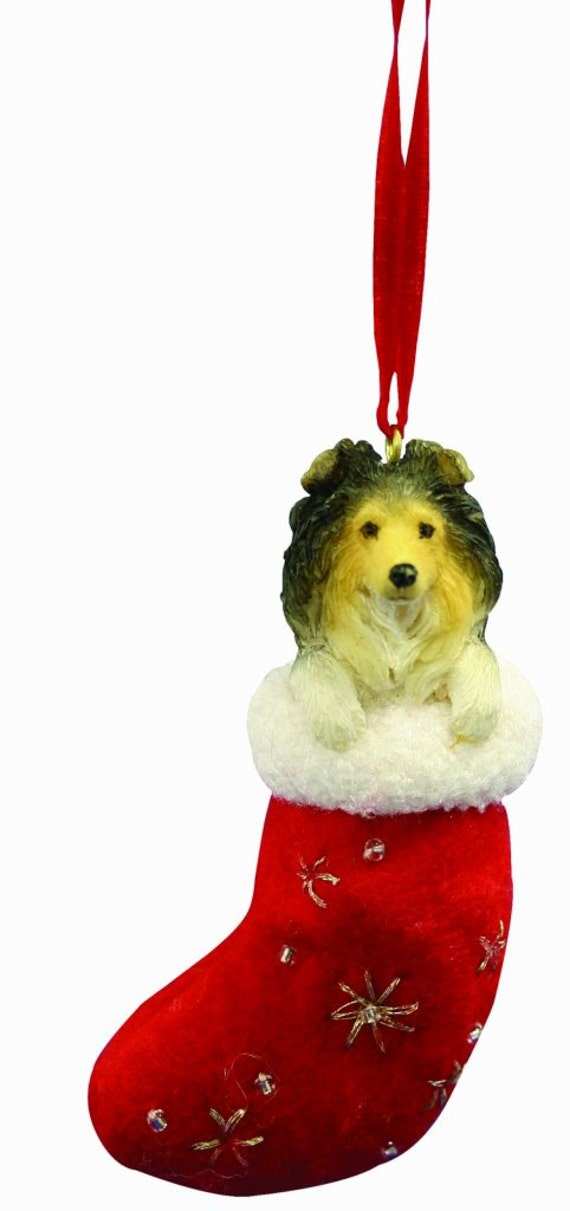 Sheltie Christmas ornament handpainted and handcrafted. | Etsy