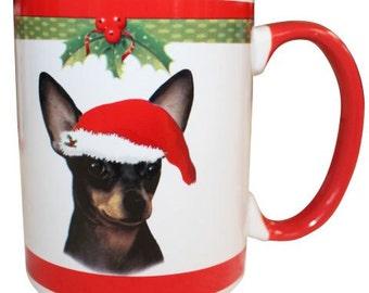 Black Chihuahua Christmas Mug, Chihuahua Gifts, Dog Gifts