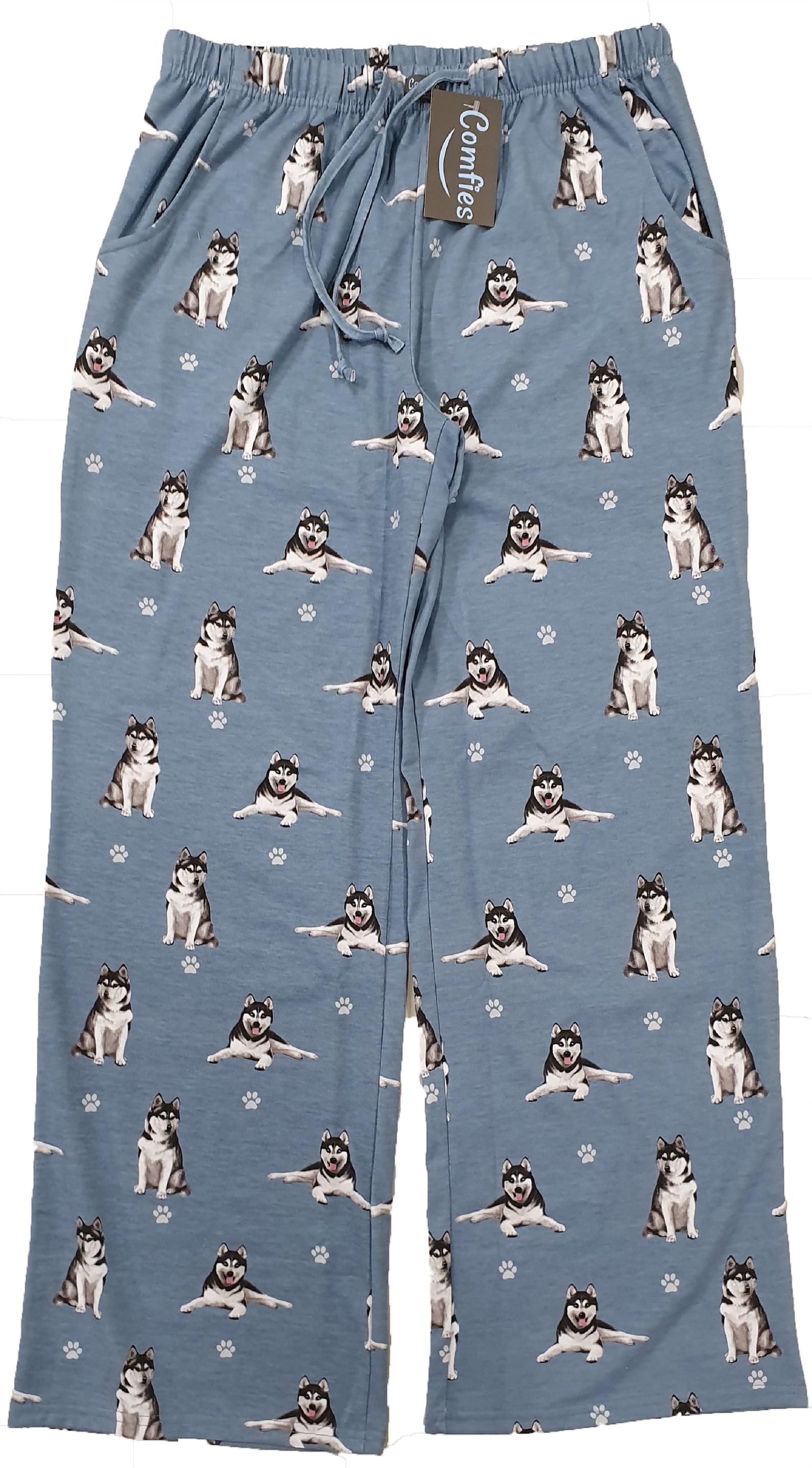 Blue pyjama bottoms with husky print