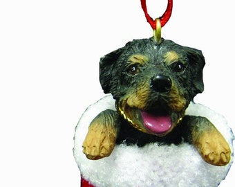 """Rottweiler Christmas ornament, handpainted and handcrafted. Measures 4"""" tall x 2"""" wide."""