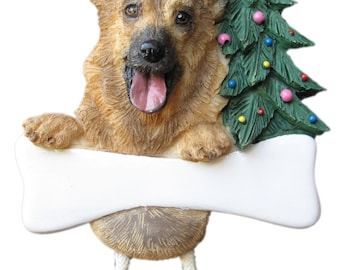 "German Shepherd Ornament Personalized with your Dog's Name, Hand Painted with a brush, Measures 5 1/2"" tall by 3 1/2"" wide"