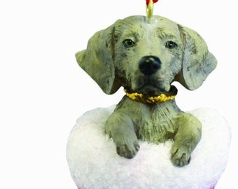 """Weimaraner Christmas ornament, handpainted and handcrafted. Measures 4"""" tall x 2"""" wide."""