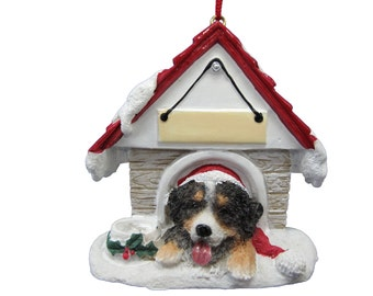 """Bernese Mountain Dog Christmas Ornament with Magnetic back, personalized with your Dog's Name.Hand Painted with a brush.Measures 3"""" by 3"""""""