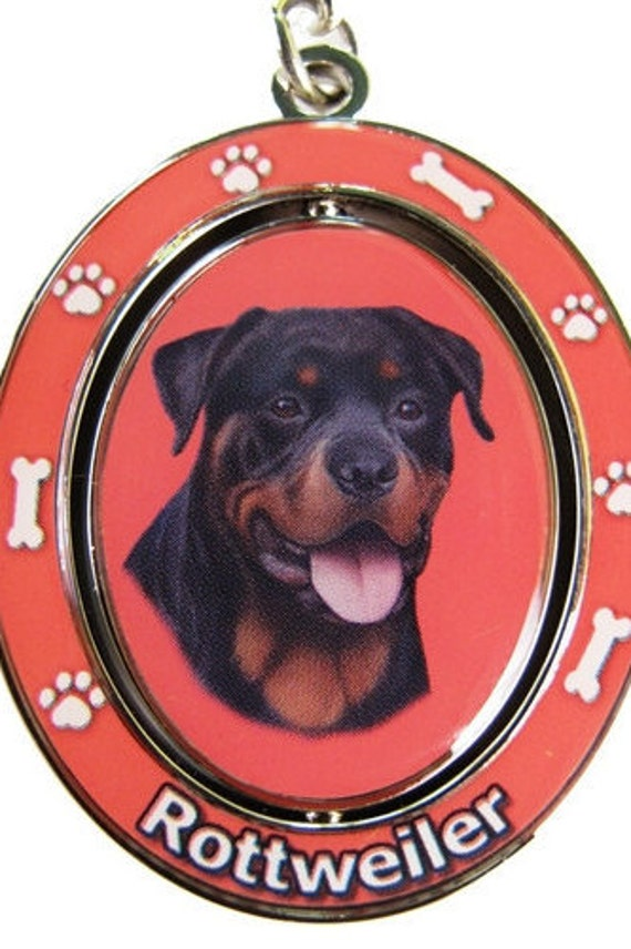 Rottweiler Puppy Image Metal Spinning Keyring in Gift Box