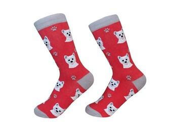 Westie  Socks - 200 Needle Count - Cotton Socks - Life Like Detail of  Westie   - Size Women's (5-11)  Men's( 6-10)