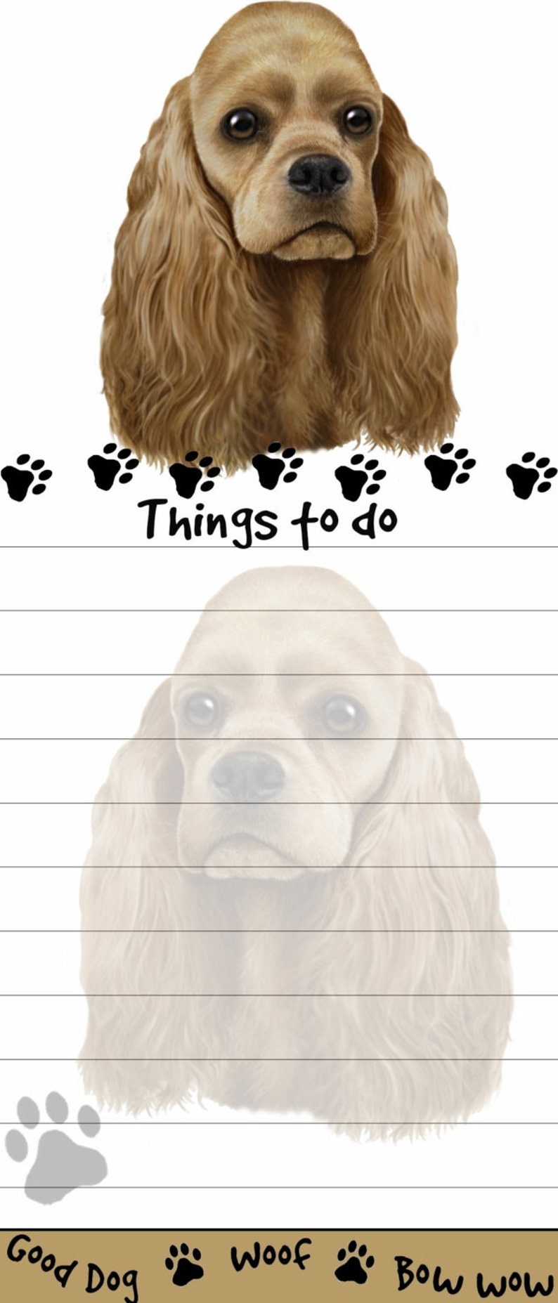 Cocker Spaniel Magnetic List Pads Uniquely Shaped Sticky Listpad with 50 sheets.