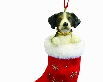 """Bernese Mountain Dog Christmas ornament, handpainted and handcrafted. Measures 4"""" tall x 2"""" wide."""