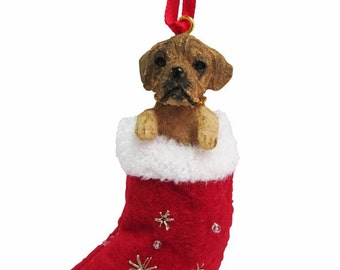 """Puggle Christmas ornament, handpainted and handcrafted. Measures 4"""" tall x 2"""" wide."""
