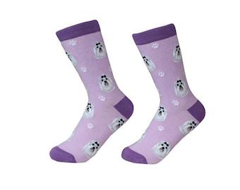 Maltese  Socks - 200 Needle Count - Cotton Socks - Life Like Detail of  Maltese   - Size Women's (5-11)  Men's( 6-10)