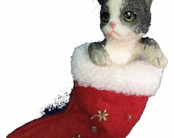 """Black and white Cat Christmas ornament, handpainted and handcrafted. Measures 4"""" tall x 2"""" wide."""