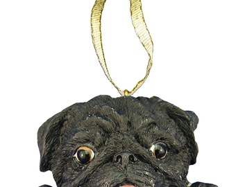 Black Pug Ornament With Personalized Name Plate A Great Gift For Pug Lovers