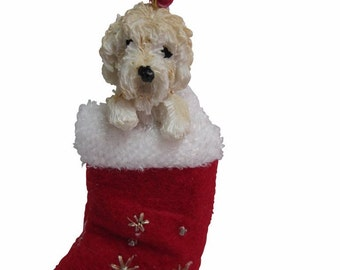 """Labradoodle,cream Christmas ornament, handpainted and handcrafted. Measures 4"""" tall x 2"""" wide."""