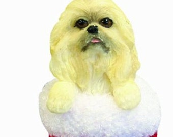 """Pekingese Christmas ornament, handpainted and handcrafted. Measures 4"""" tall x 2"""" wide."""