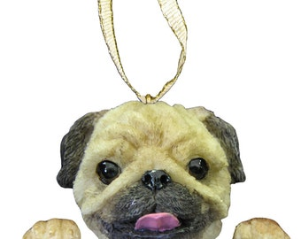 Fawn Pug Ornament With Personalized Name Plate A Great Gift For Pug Lovers