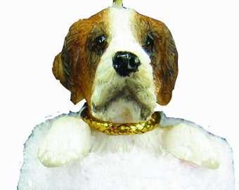 """Saint Bernard Christmas ornament, handpainted and handcrafted. Measures 4"""" tall x 2"""" wide."""