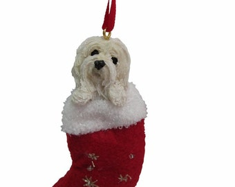 """Havanese Christmas ornament, handpainted and handcrafted. Measures 4"""" tall x 2"""" wide."""