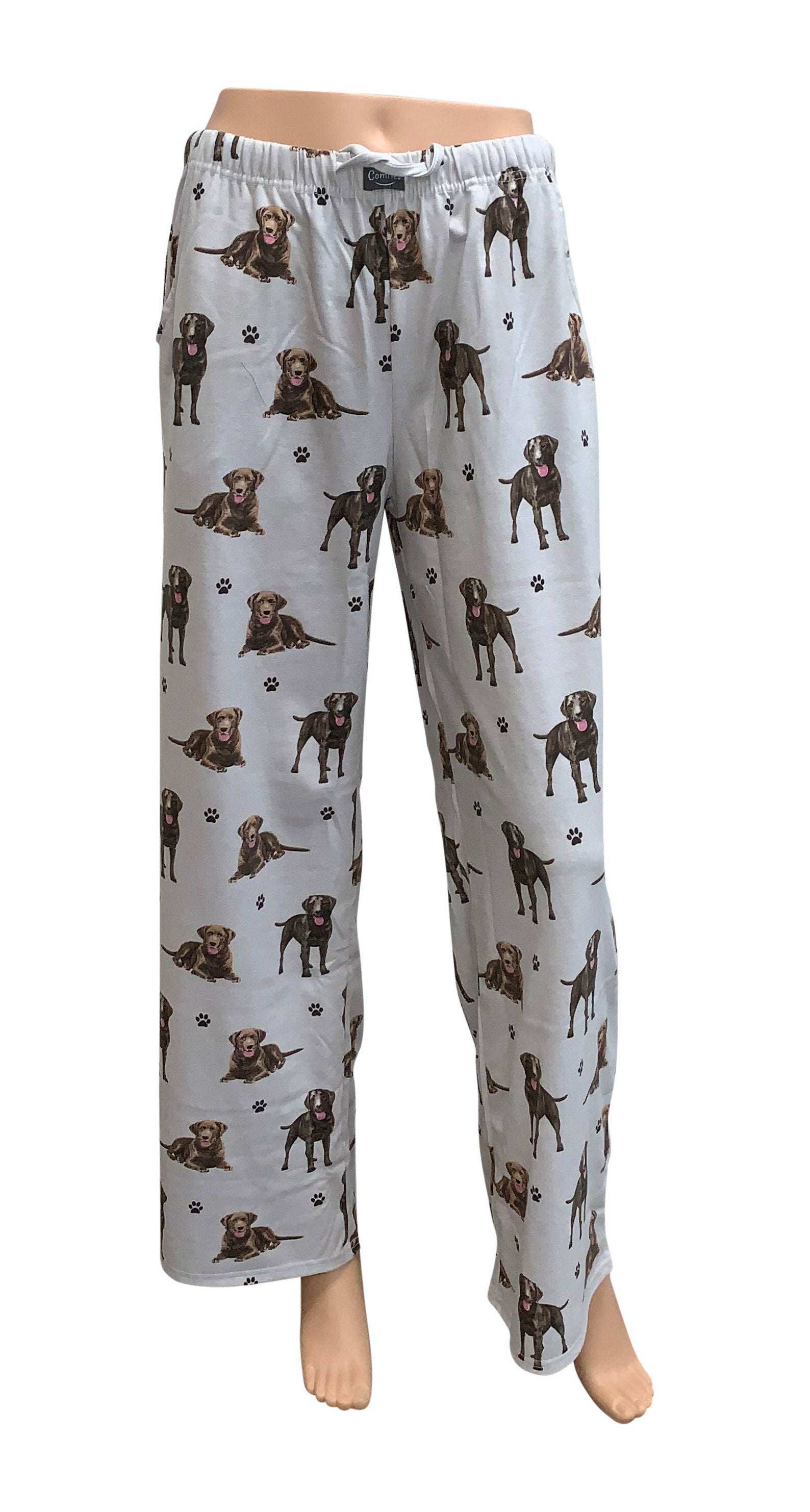 White pyjama bottoms with labrador print