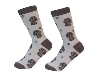 Weimaraner  Socks - 200 Needle Count - Cotton Socks - Life Like Detail of  Weimaraner   - Size Women's (5-11)  Men's( 6-10)