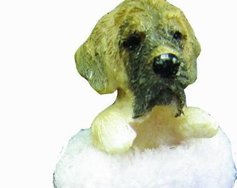 """Mastiff Christmas ornament, handpainted and handcrafted. Measures 4"""" tall x 2"""" wide."""