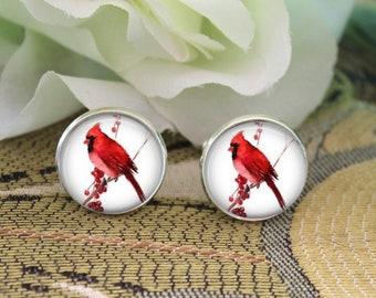 Lifetime Guarantee Cardinals Bird Cufflink S1386 Cardinal Cufflinks Pair Red Cardinal Cuff Links Birds Cuff Link