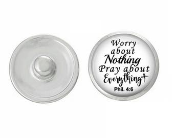 Worry About Nothing Pray About Everything Snap Fits 18-20mm Snap Button  Charm Gingersnaps Noosa Chunk Magnolia Vine by Gracie V Jewelry 4a318a6a8871