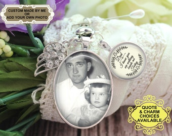 Gift for Bride Rose Gold Photo Wedding Bouquet Charm Walk With Me Today Down the Aisle Rhinestone Pave Edge Wedding Date Charm Mom Dad