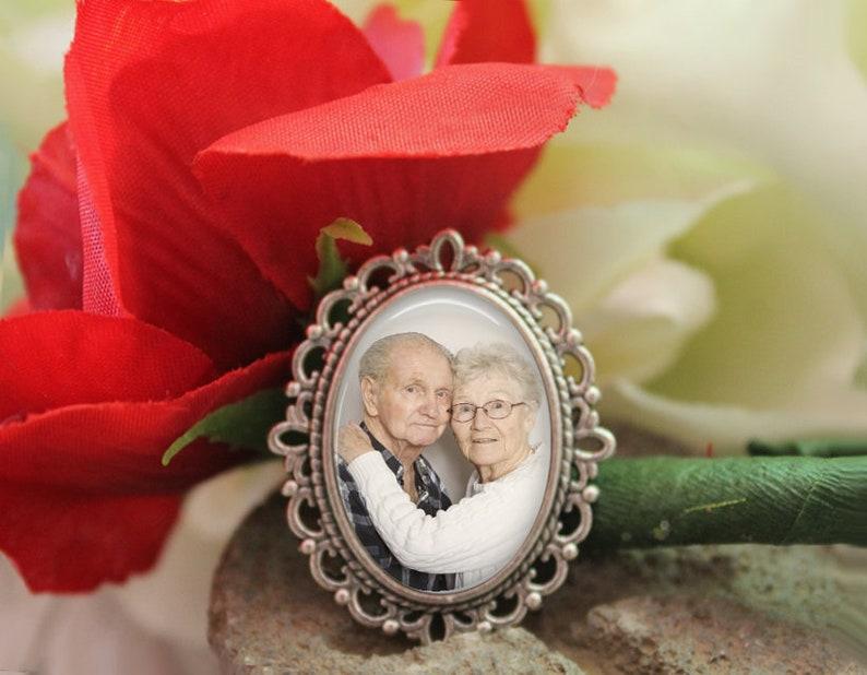 357307a53b644 Custom Photo Wedding Corsage Brooch Pin, Groom Boutonniere Lapel Pin,  Memory Lapel Pin