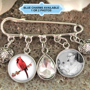 Red Bird Cardinal Photo Wedding Bouquet Pin Charm Groom Gift Boutonniere Pin Quote Choices Available Gift for Bride Photo Lapel Pin