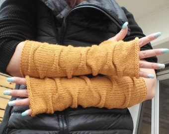 Thumbhole Arm Warmers.Knit Fingerless gloves, Long Fingerless gloves,Mustard Yellow Long Arm warmers ,Knit fingerless mittens  gift for her